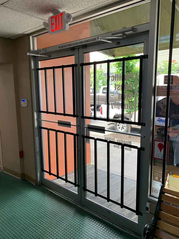 Door bars on glass security door