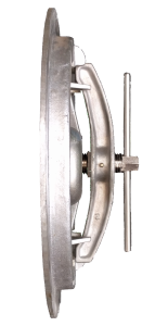 """14"""" Round Hatch - Side View - Hatch and Strong Back Assembly - Evergreen Hatch Works - Portland OR"""